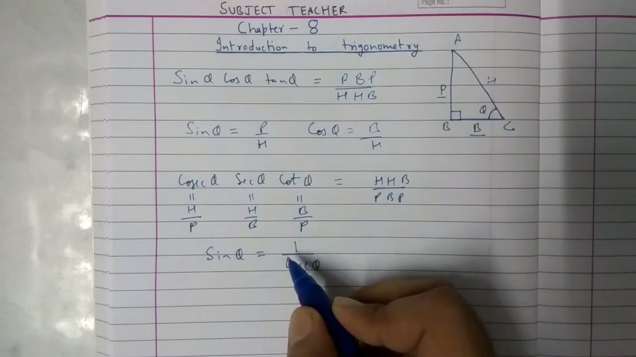 Chapter 8 TRIGONOMETRY Exercise 8 1 maths class 10 NCERT in English or Hindi