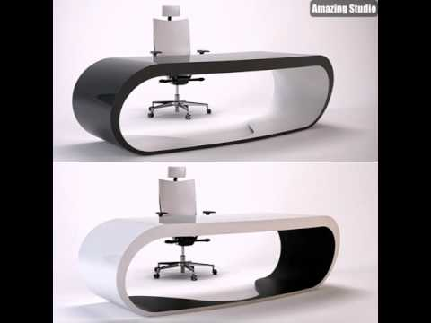 Büro Schreibtisch Design In Weiß Und Schwarz Vom Italienischen ...
