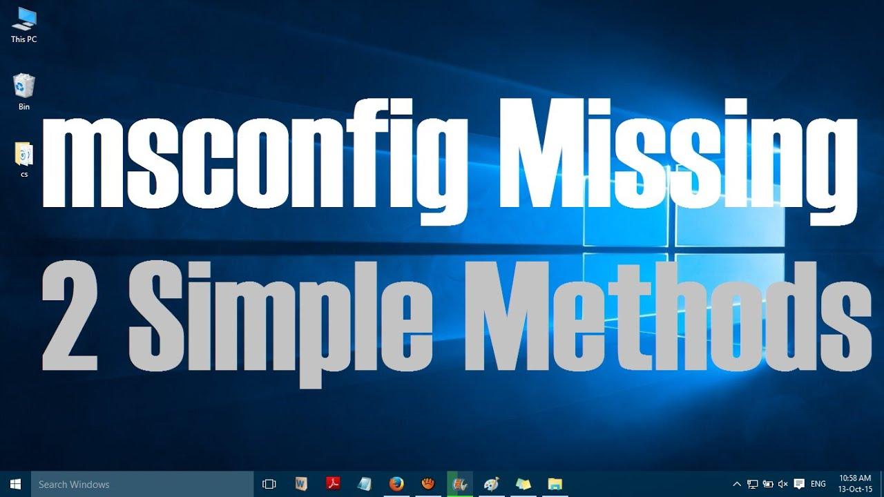 run msconfig from startup repair