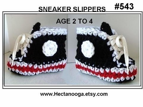 Crochet Black Sneaker Slippers Age 2 To 4 Part 1 Boys Booties