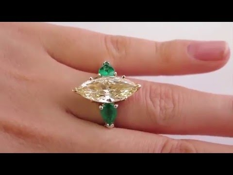 """""""Canary"""" 4.63ctw Natural Fancy YELLOW Marquise Diamond and Green Emerald Trilogy Ring"""