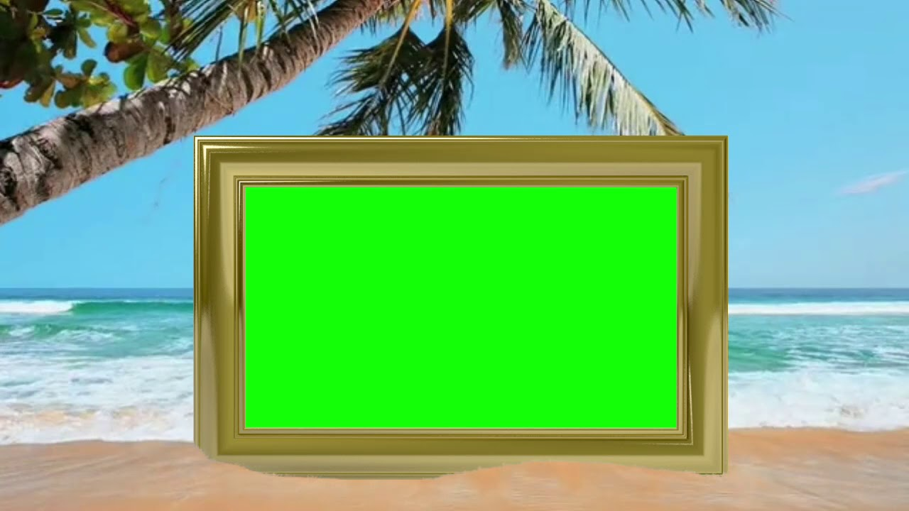 green screen picture frame on a tropical beach
