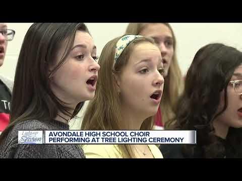 Avondale High School choir performing at tree lighting ceremony