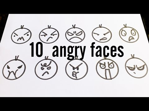 10 Cute Angry Faces / Kawaii Expressions to Doodle for kids