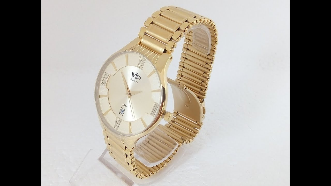 8d72c843dde Relógio Masculino Vip Quartz MH305 Social Ultra Slim Dourado - YouTube