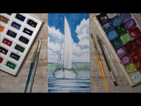 Как нарисовать лёгкий пейзаж (акварель) Море. Облака. Яхта. (2019)
