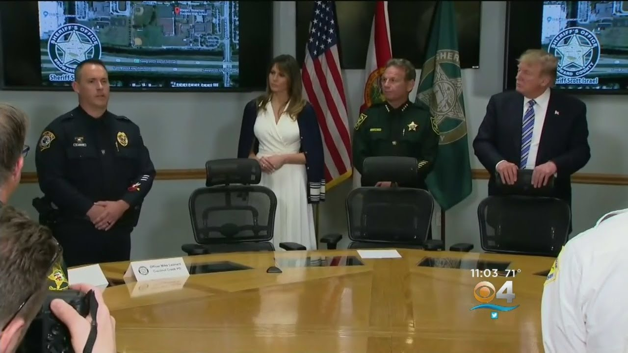 President Trump Talks To Law Enforcement After Visiting Victims