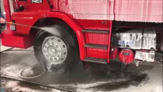 ProNano Non Contact Truck Wash: Red Scania 143 V8 @ Hulleman Trucks