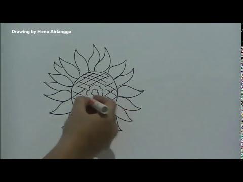 Cara Mudah Menggambar Bunga Matahari Dari Huruf O Youtube