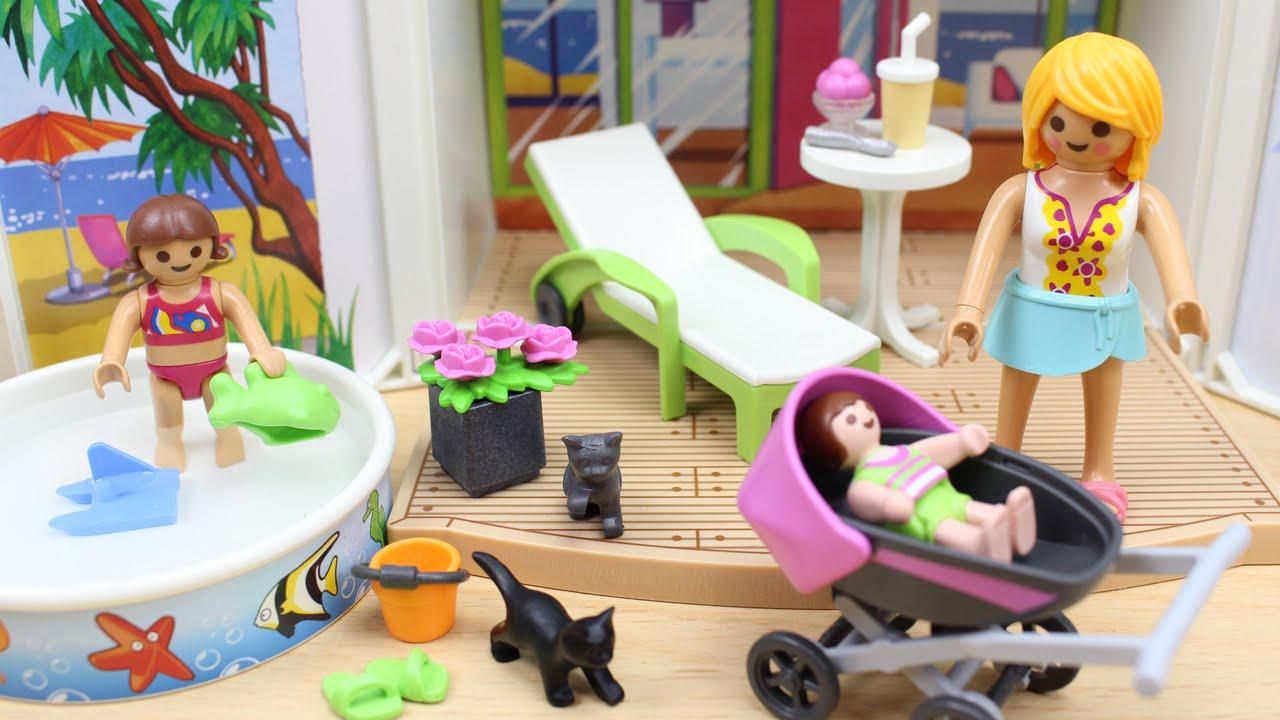 Casa de verano playmobil en espa ol mam la ni a y el beb van de vacaciones juguetes - Gran casa de munecas playmobil ...