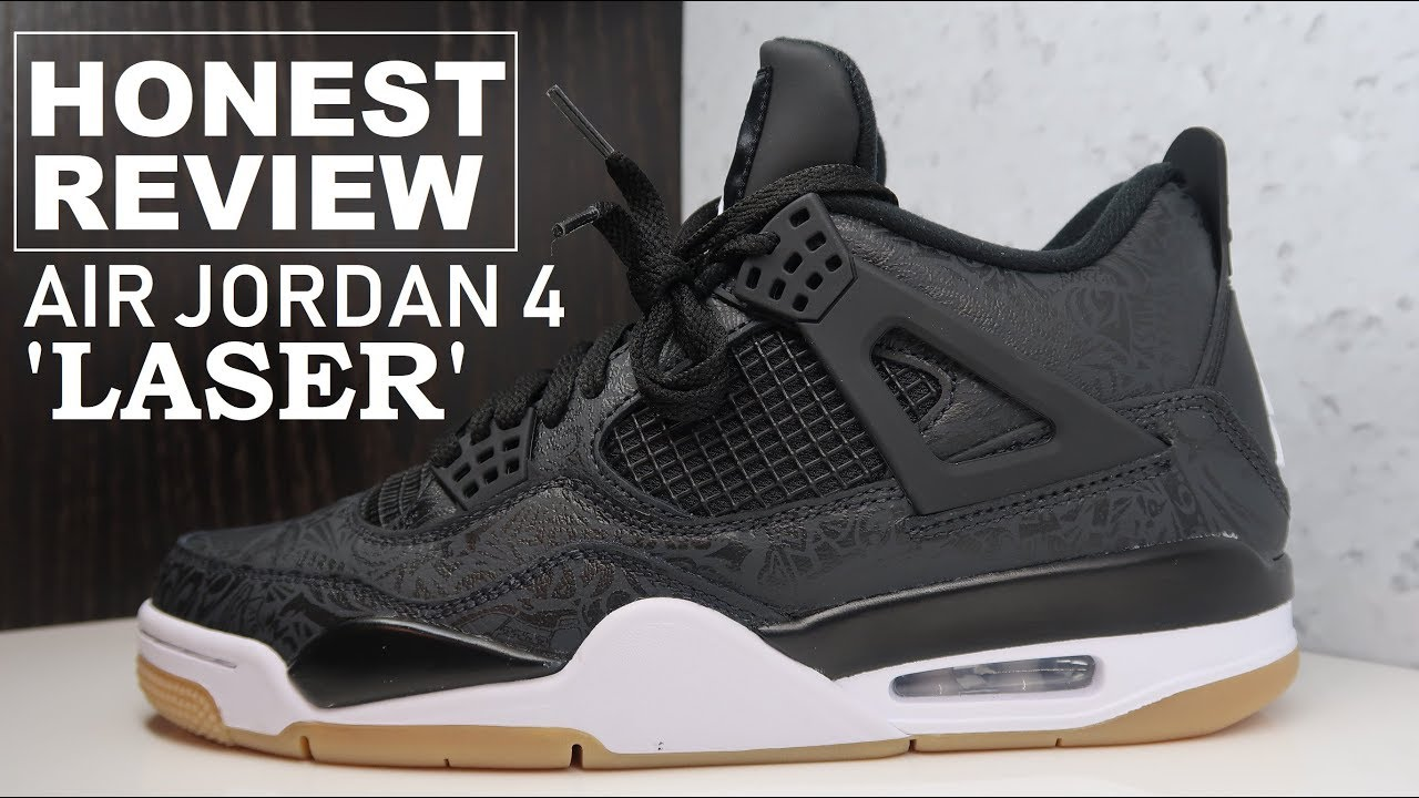 220c3b8ebec712 Air Jordan 4 IV Black Laser Gum Retro Sneaker Detailed HONEST Review   Jumpman  Sneakerhead