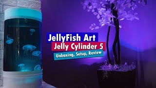 Jellyfish Art Cylinder 5 - Nano Moon Jellyfish aquarium unboxing setup and review