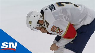 Panthers' Keith Yandle Leaves Ice In Discomfort After Taking Puck To Face