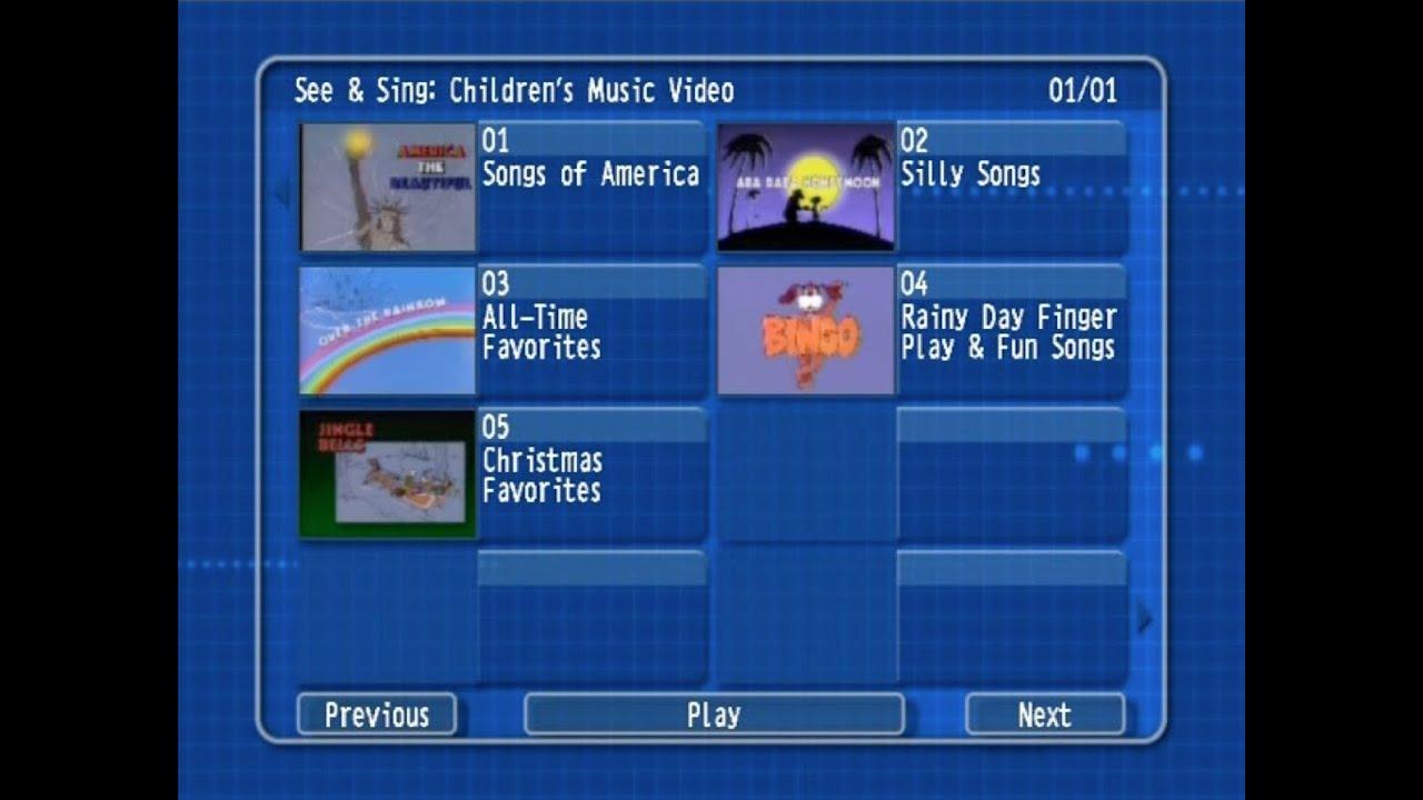Uncategorized Children Music Videos see sing childrens music video dvd menu youtube menu
