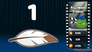 Angry Birds Season - Piggywood Studios Level 1 - 100% Mighty Eagle Walkthrough, No Boosters