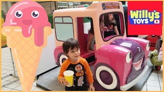 3 Year Old Kid Riding a Red Sports Car and an ICE CREAM TRUCK Ride and Thomas Train - Willy