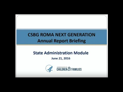 CSBG Annual Report: FRN1: Module 1, State Administration