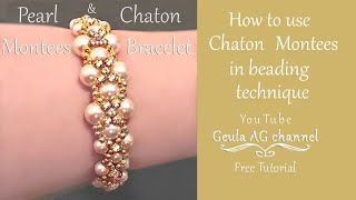 How to make Beaded Bracelet with rhinestones and pearl beads Pearl and Crystal Bracelet DIY