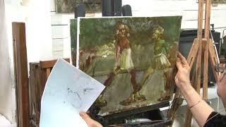 Видео урок живописи - Воскресный день на льду