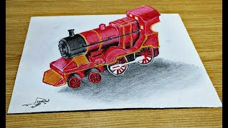 how to draw a train | 3D train drawing