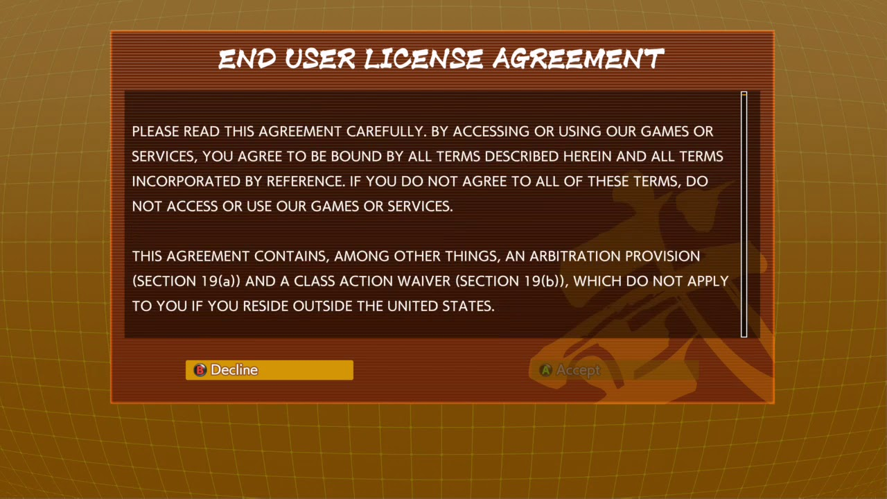Ridiculous Eula To Start Dragon Ball Fighterz Youtube
