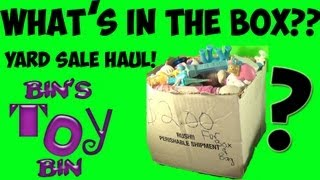What's Inside The $2.00 Yard Sale Mystery Box Of Toys?  Huge Toy Haul Unboxing By Bin's Toy Bin!