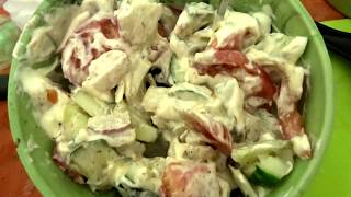Салат редис огурец помидор лук Вкусно!
