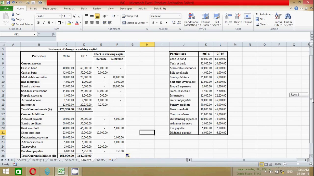 how to prepare statement of change in working capital in excel