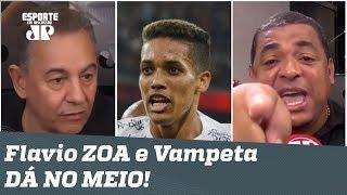 PEGOU FOGO! Flavio Prado zoa Corinthians, e Vampeta DÁ NO MEIO!