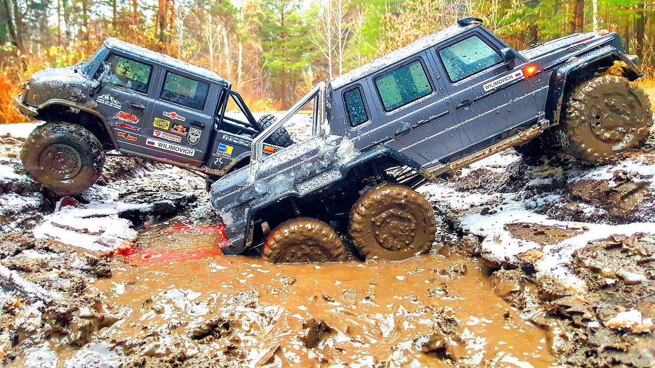 RC Cars Traxxas TRX6 VS Axial UMG6x6  in MUD and ICE Water Racing — Wilimovich