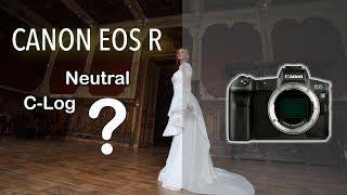 Видеотест C-Log/Neutral на Canon EOS R. Съёмка свадебных платьев на модели.