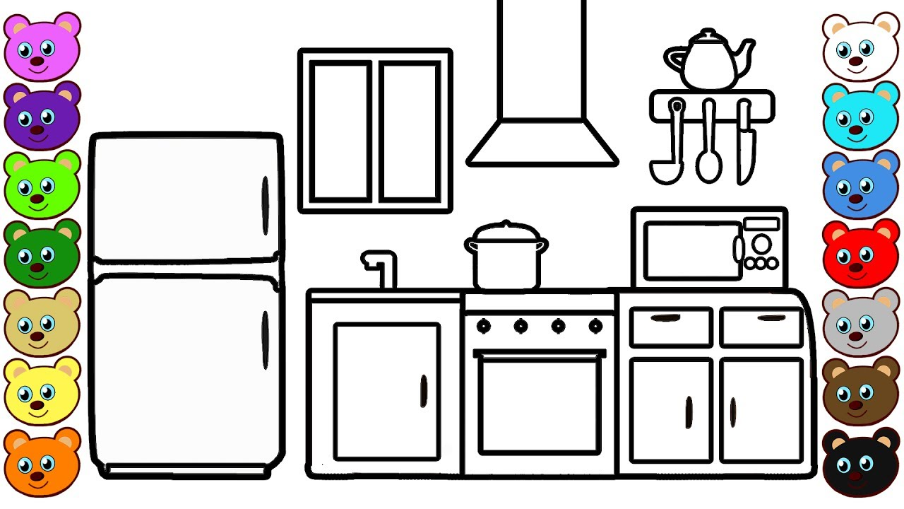 Learning Colors For Kids With Kitchen Room Coloring Page For