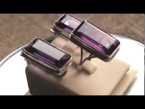 Серебряные серьги и кольцо с александритом Apm6102