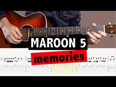 Maroon 5 - Memories // Guitar Tutorial + TAB + BACKING TRACK (MELODY)