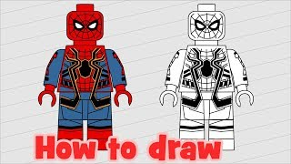 How to draw Lego Spider Man from Marvel