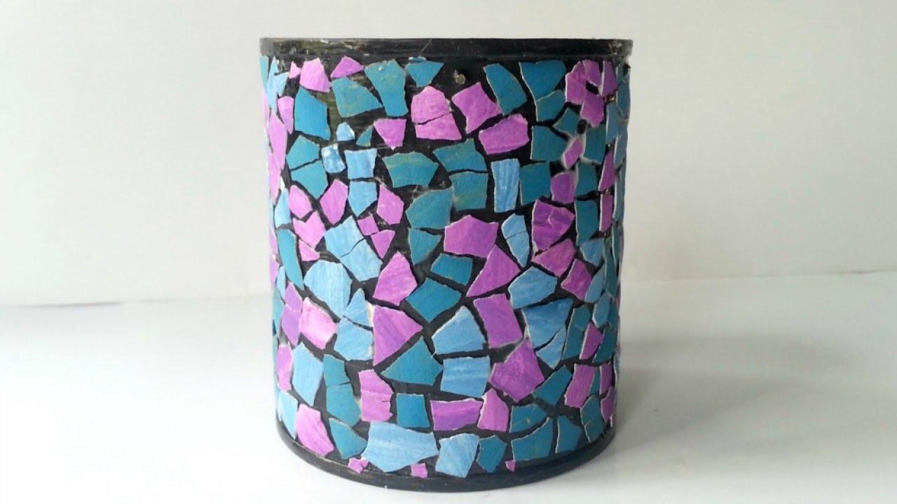 Create A Cool Eggshell Mosaic Pen Holder Diy