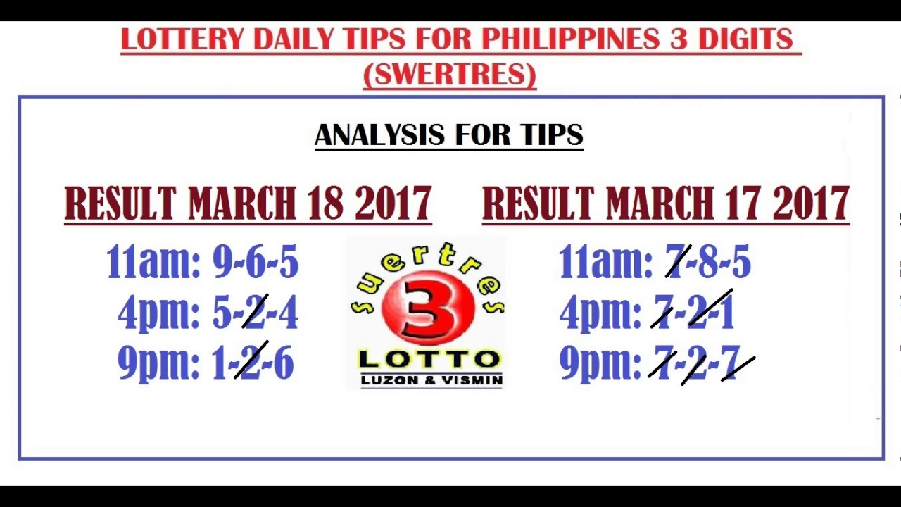 Philippine 3 Digits Lottery Daily Tip and Hearings - March 19, 2017