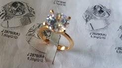 Diamond ring handmade gold 18k white gold