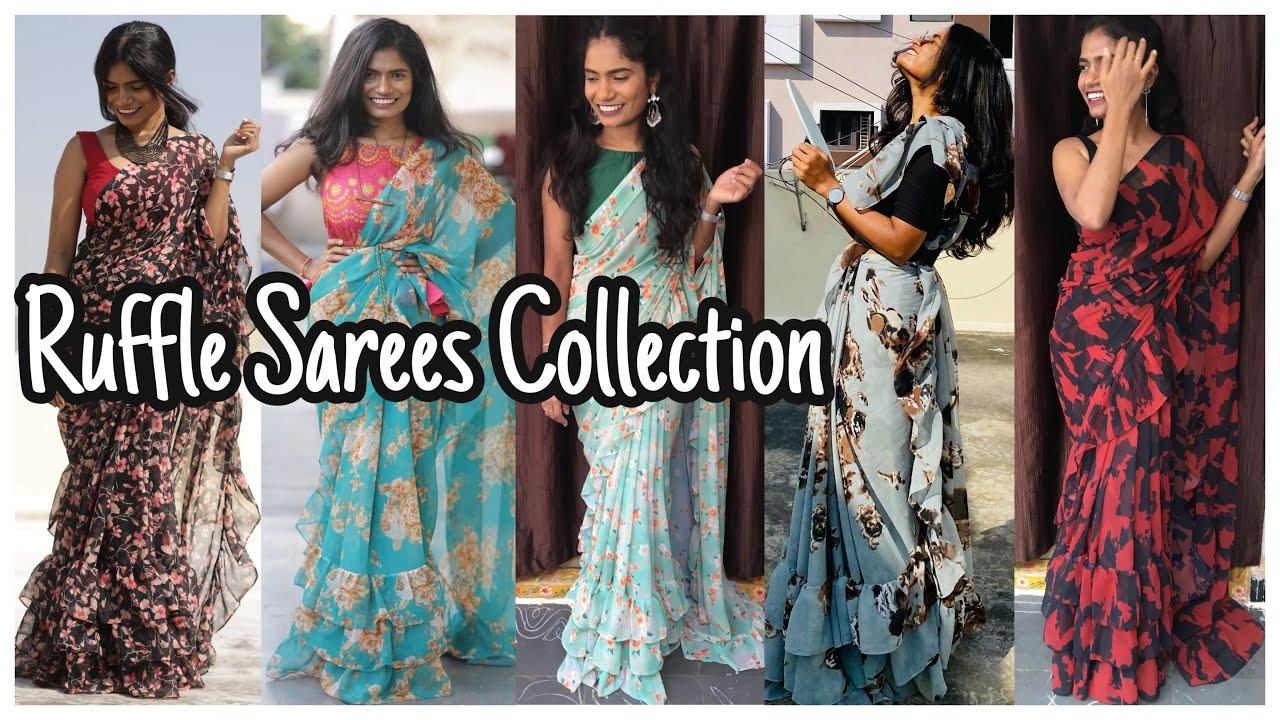 Ruffle Sarees New Collection | Store New Collection | nayalooks | Navya Varma