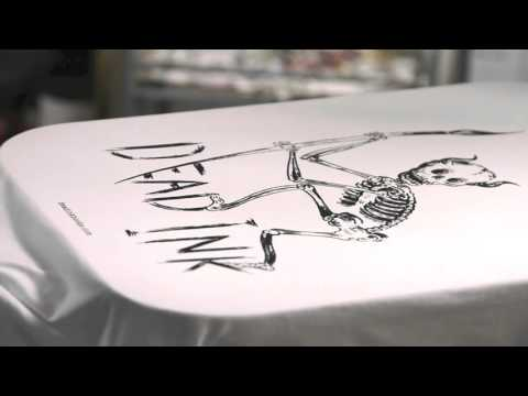 Screen-printing the new Dead Ink tee at the Wasted Heroes studio