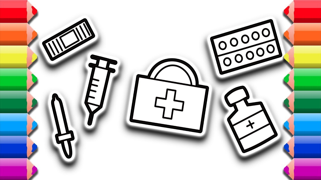How To Draw Medical Kit First Aid Kit Coloring And