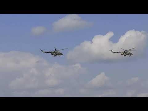 Аэродром Омск северный. Красавцы вертолёты.