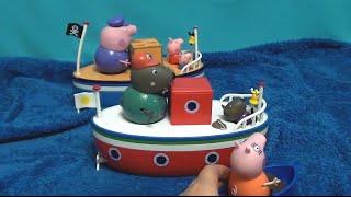 Мультфильм игрушками Свинка Пиги Pig Гонки на корабликах