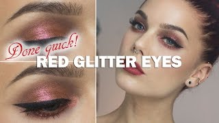 Done Quick- Red glitter eyes - Linda Hallberg makeup tutorials Thumbnail