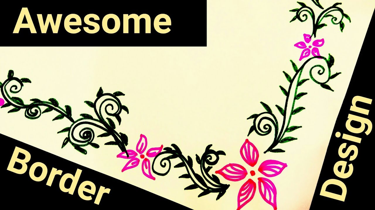 How to make beautiful border design on paper for school project file borders also rh youtube