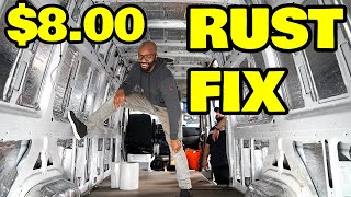 Fixing the rust problem in our off grid sprinter van for just $8