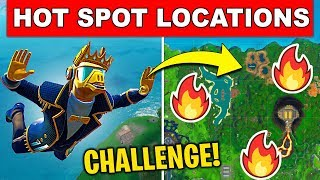 LAND AT A HOT SPOT IN DIFFERENT MATCHES – ALL HOT SPOT LOCATIONS Fortnite Week 4 Challenge Season 10