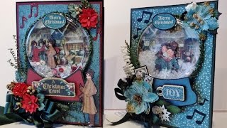 how to make a christmas snow globe shaker card featuring a christmas carol from graphic 45