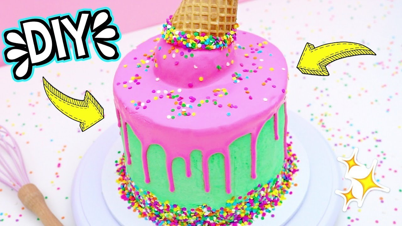 How To Make A Ice Cream Cone Drip Cake Easy Diy Cake Tutorial For