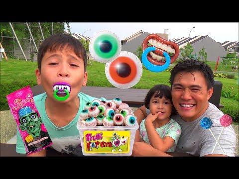 Nyobain Permen Lollipop Unik dan Lucu -  Halloween Trick or Treat Candy Haul